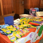 Donated school supplies for local schools